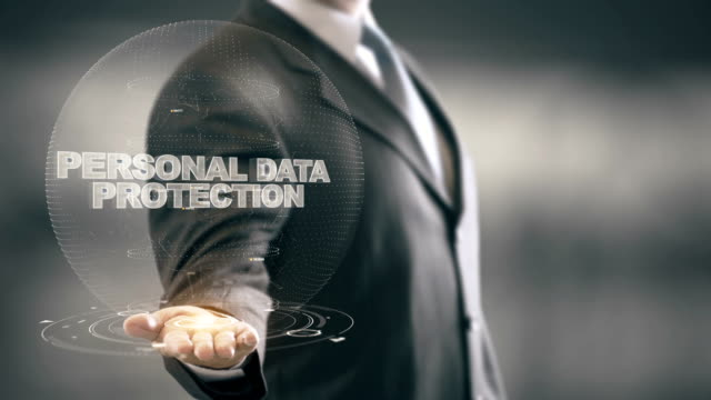 Personal Data Protection with hologram businessman concept