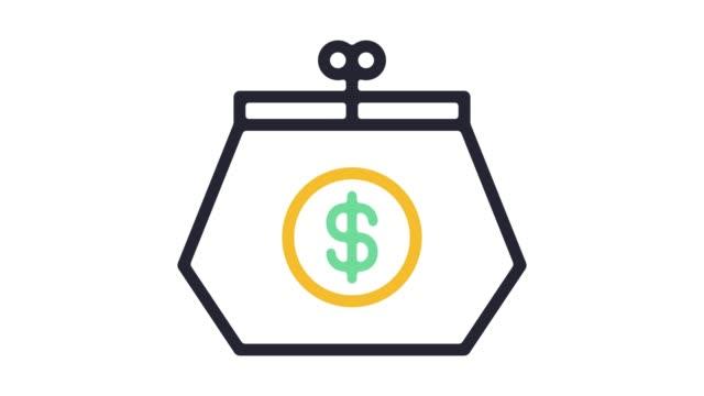 vídeos y material grabado en eventos de stock de línea planificación financiera personal icono animación con alfa - planificación financiera