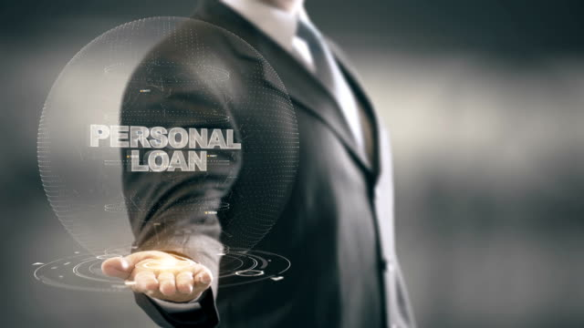 Personal Loan with hologram businessman concept video