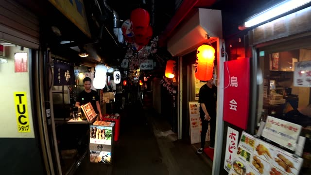 A personal perspective of traditional food street in Shinjuku Tokyo. A personal perspective of traditional food street in Shinjuku Tokyo. alley stock videos & royalty-free footage
