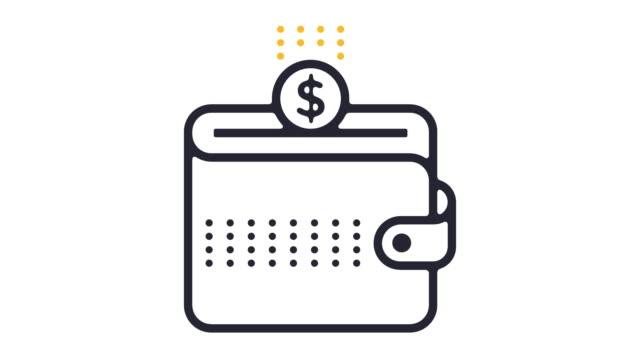 vídeos de stock e filmes b-roll de personal savings line icon animation - shop icon