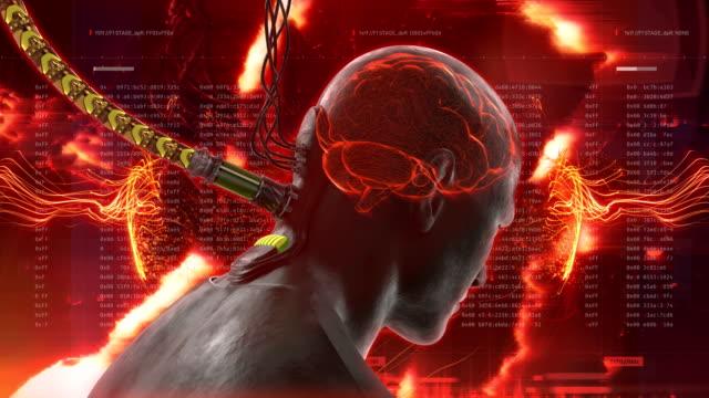 i̇nsanın beyninin sisteme takılı. seçim, genel kontrol, kukla hayal - üretilmiş nesne stok videoları ve detay görüntü çekimi