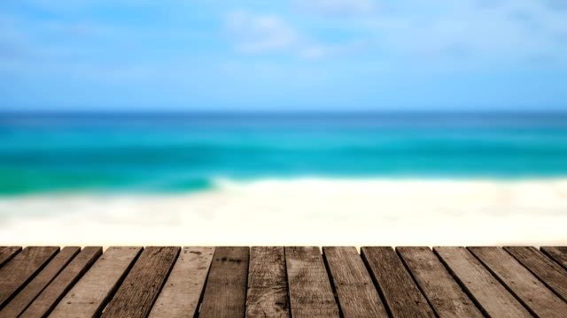 perspective old wooden terrace at sea view background. - molo video stock e b–roll