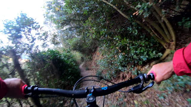 POV perspective view of biking along mountain trail