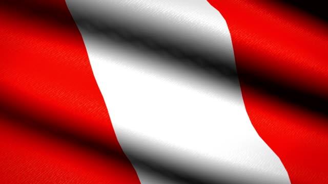 Perú bandera ondeando textil textura de fondo. Seamless Loop animación. Pantalla completa. Cámara lenta. Vídeo de 4 K - vídeo