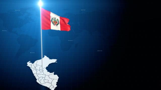 Bandera de Perú con mapa - vídeo