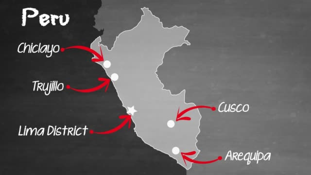Peru map map with label then with out label blackboard visual aid stock videos & royalty-free footage