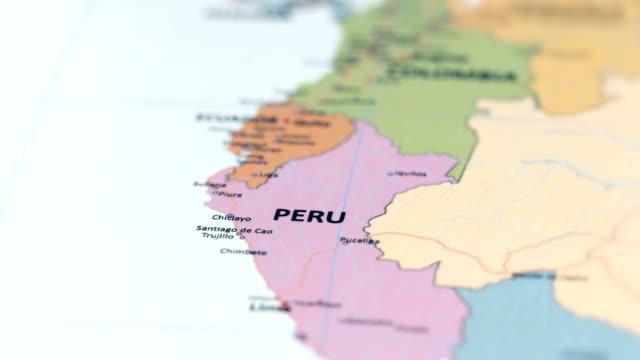vídeos y material grabado en eventos de stock de perú américa del sur en el mapa del mundo - norte