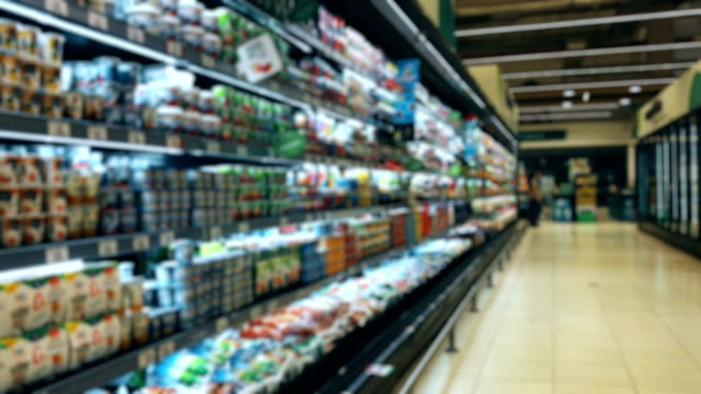 Peruvian dairy supermarket aisle Peruvian dairy blurred Motion supermarket aisle shelfs grocery aisle stock videos & royalty-free footage