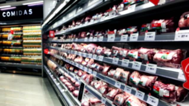 peruanska oskärpa stormarknad kött hyllor - dagligvaruhandel, hylla, bakgrund, blurred bildbanksvideor och videomaterial från bakom kulisserna