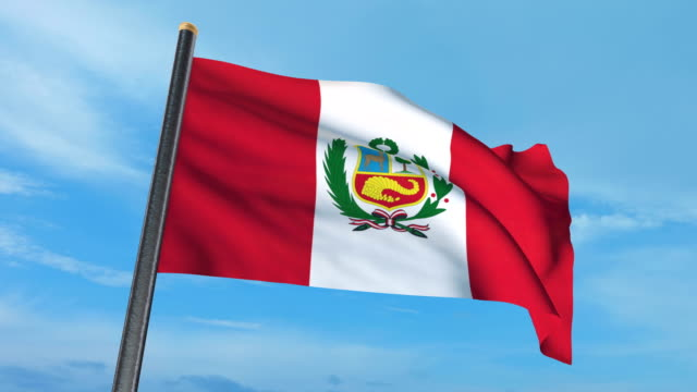 Perú bandera ondeando (luma mate incluido, así que usted puede poner su propio fondo) - vídeo