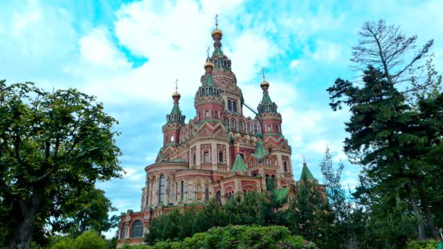 Peter and Paul Cathedral (Peterhof). St. Petersburg. Russia.timelapse video