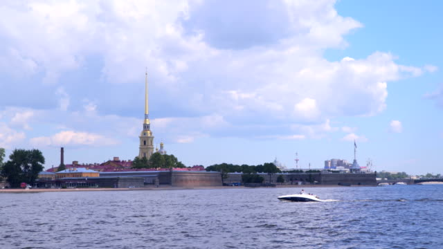 Peter and Paul Fortress against the sky with clouds video