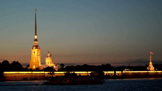 Peter and Paul Fortress at night St. Petersburg video