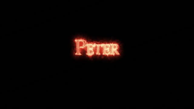 peter written with fire. loop - papa video stock e b–roll
