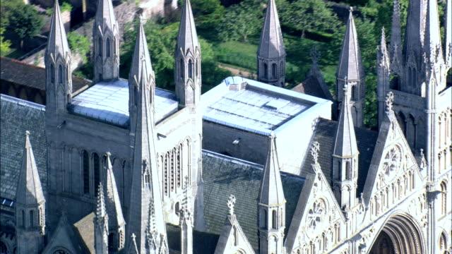 Peterborough Cathedral  - Aerial View - England,  Peterborough,  United Kingdom video