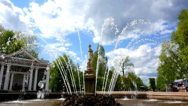 peterhof.fountains.statues.slow motion. san pietroburgo - san pietroburgo russia video stock e b–roll