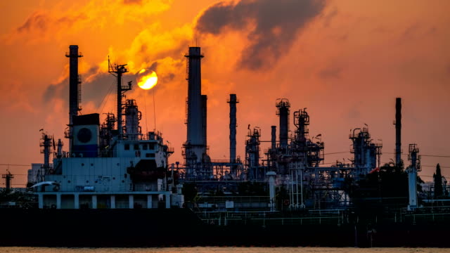 Petrochemical industry - Oil refinery with sunrise, 4k Time lapse Factory, Power Station, Built Structure, Dusk, Industrial Building gas pipe stock videos & royalty-free footage
