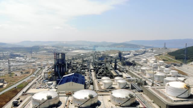 Petrol Refinery From Above Petrol Refinery From Above, Aliaga, Turkey oil and gas stock videos & royalty-free footage