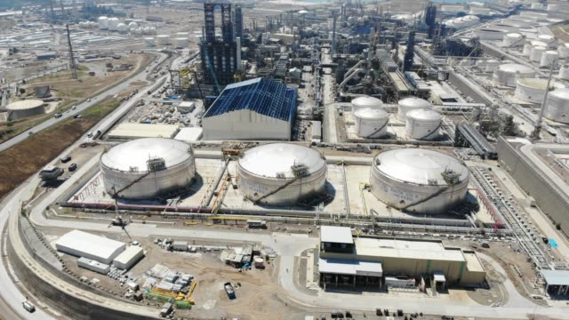Petrol Refinery From Above Petrol Refinery From Above, Aliaga, Turkey storage tank stock videos & royalty-free footage