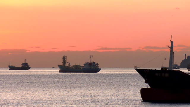 Petrol ships in the bay Petrol ships waiting in the bay industrial ship stock videos & royalty-free footage
