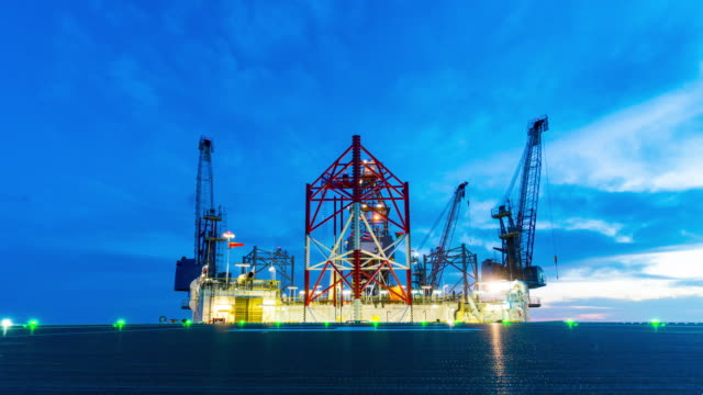 petroleum offshore drilling platform with helicopter deck video