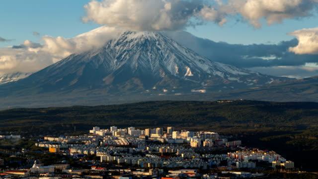 Petropavlovsk-Kamchatsky City on background Koryak Volcano video