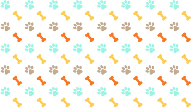pets pattern scrolling background with colored paws and bones - łapa filmów i materiałów b-roll