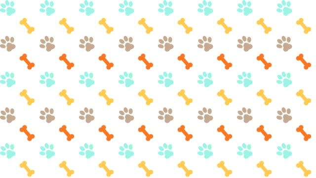 stockvideo's en b-roll-footage met huisdieren patroon scrolling achtergrond met gekleurde poten en beenderen van de hond - dierlijk bot