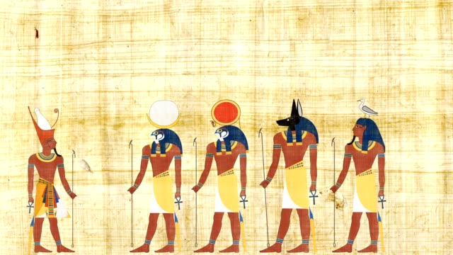 Pharaoh Consulting With Ra Geb Khonsu And Anubis video