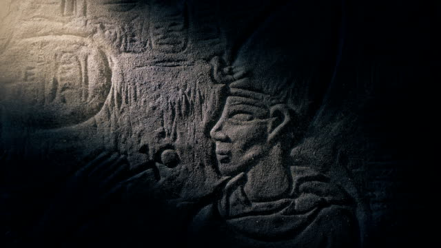 Pharaoh Stone Carving Revealed In Shaft Of Light