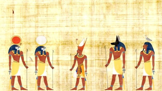 Faraón rodeado de Geb Khonsu de Ra y Anubis - vídeo