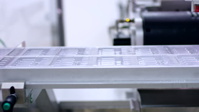 Pharmaceutical manufacturing line. Medicine industry. Automated production line video