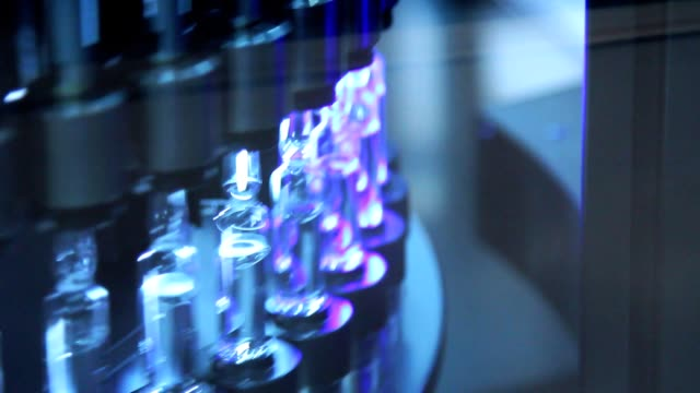 Pharmaceutical production line. Medical ampoules on pharmaceutical manufacturing