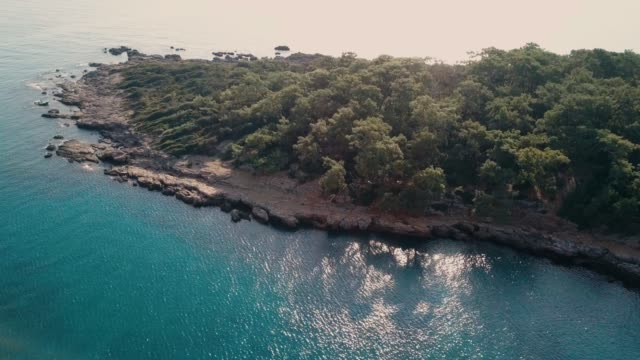 Phaselis paradise bay. Aerial drone top view. 4K Faselis paradise bay drone view.