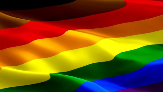 vídeos de stock, filmes e b-roll de philadelphia orgulho bandeira do arco-íris gay. rainbow gay america lésbica e.u.a. vídeo da bandeira lgbtq acenando ao vento. fundo gay da bandeira do orgulho dos eua. bandeira de philly do arco-íris que looping 1080p hd cheio. bandeiras do orgulho da  - lgbt