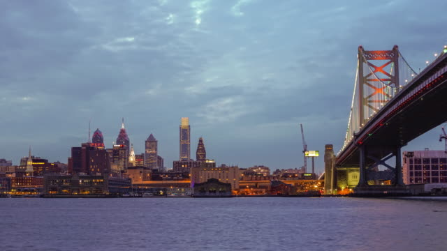 Philadelphia skyline reflected in the Delaware river under a twilight video