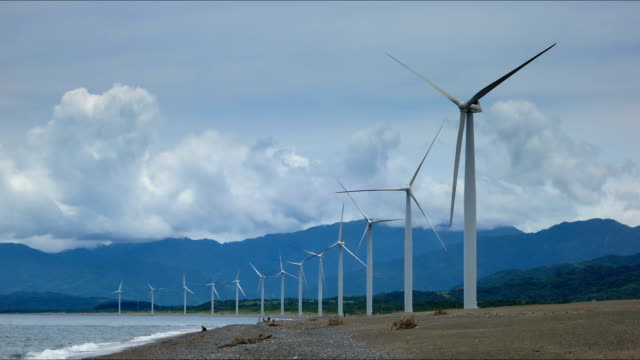 Philippines beach boat windmills time lapse video
