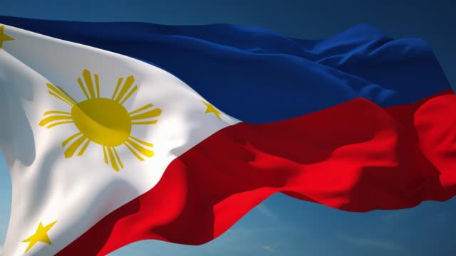 4 k filippine bandiera-ad anello - filippino video stock e b–roll
