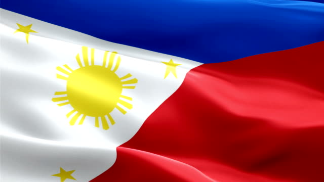 philippines flag motion loop video waving in wind. realistic filipino flag background. philippines flag looping closeup 1080p full hd 1920x1080 footage. philippines asian country flags footage video for film,news - kiss filmów i materiałów b-roll