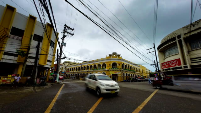 Philippines town traffic time lapse video