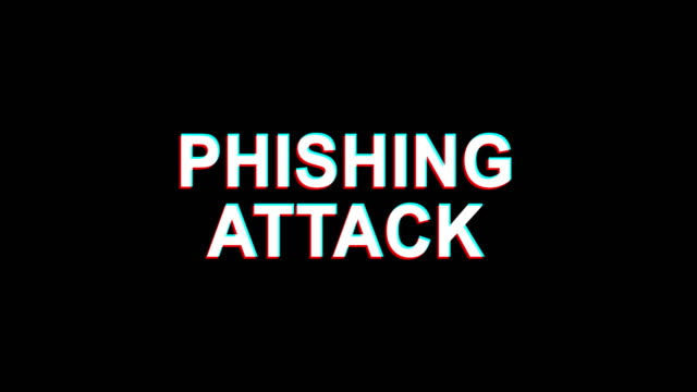 phishing attack glitch effect tekst digital tv distortion 4k loop animacja - phishing filmów i materiałów b-roll