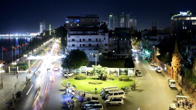 phnom penh şehir zaman atlamalı - kamboçya stok videoları ve detay görüntü çekimi