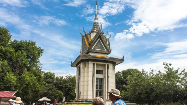 phnom penh the killing filed monument timelapse - cambogia video stock e b–roll