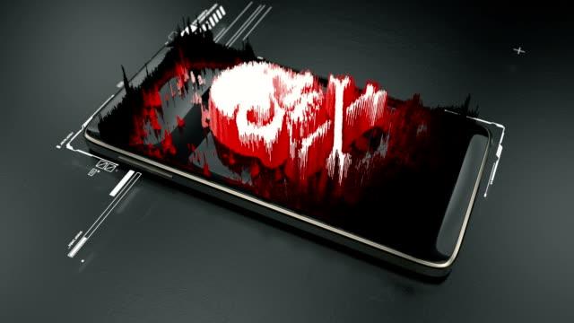 phone hacking, red skull hologram on smartphone screen, mobile virus, attack - phishing filmów i materiałów b-roll