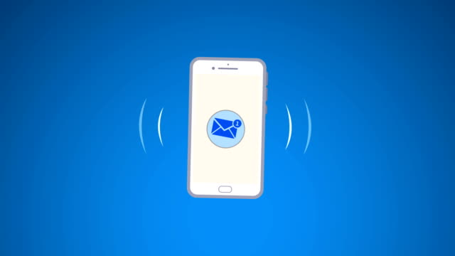 4k phone ring animation. cellphone with moving signal bars(loopable) - rispondere video stock e b–roll