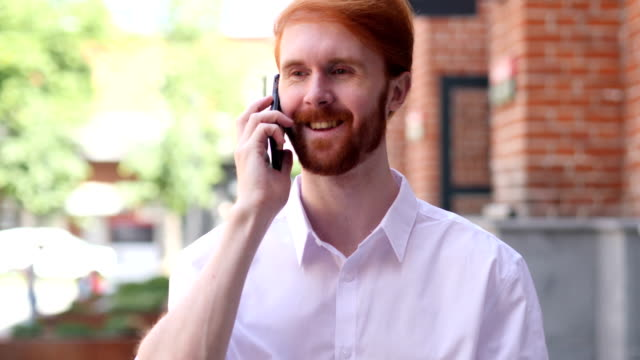 Phone Talk, Man Attending Call while Standing Outside Building video