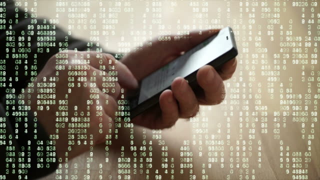 Phone with matrix data. - vídeo