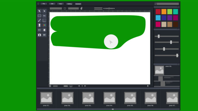Photo editing. Animation of the graphical editor program interface. Cartoon