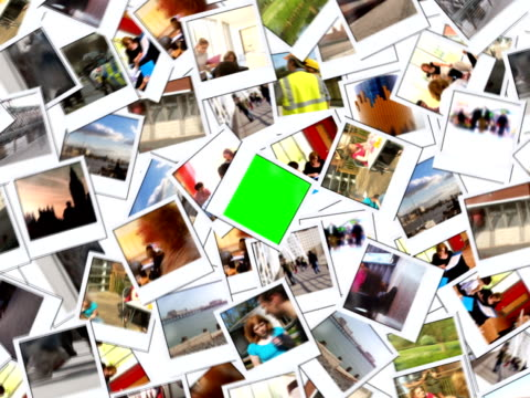 stockvideo's en b-roll-footage met photo montage of people and places - polaroid